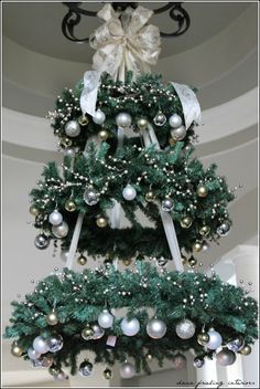 Christmas wreath chandelier - paint wreath white, gold, or silver.  Accent with ornaments of colors matching wedding.   Add ribbon and hang above the bride/groom table.