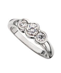 bezel set three stone diamond rings | Phyllis Bergman Half Bezel Set Ladies Three Stone Diamond Ring