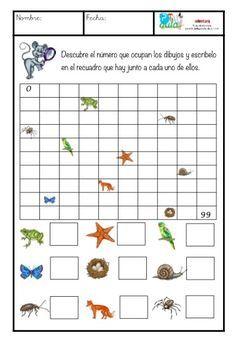 Sencilla ficha para reforzar los números hasta el 100. El alumno tendrá que adivinar qué números se esconden bajo las imágenes. Normas: No se puede empezar a contar desde el uno. Hay que empezar a contar desde la decena en la que se encuentra el objeto. El número se colocará