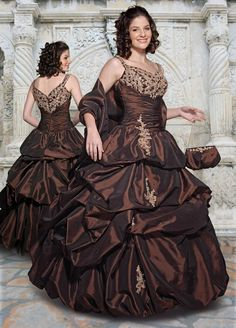 Brown Ball Gown Spaghetti Straps Zipper Full Length Beading Embroidered Quinceanera Dresses