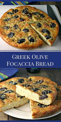 Greek Olive Focaccia Bread - Life, Love, and Good Food - Recipes Ancient Greek Food, Greek Bread, Store Bought Pizza Dough, Focaccia Bread Recipe, Focaccia Pizza, Greek Dinners, Vegan Greek, Greek Olives, Greek Cooking