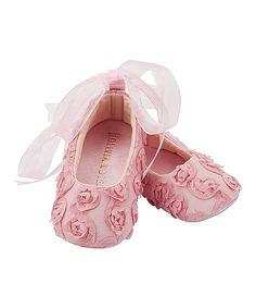 Pink Rosette Ballet Flat Crib Shoes
