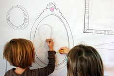 DIY Wallpaper for Children's Art (outline frames on a large white sheet of paper; hang from wall, and let kids draw to their heart's content)