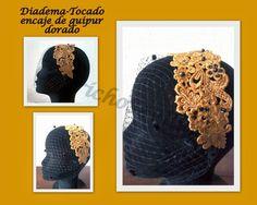 Capricho Sevillano: MiniTocado- diadema guipur dorado con red negra