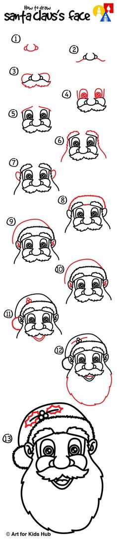 How to draw santa claus's face - art for kids hub - Christmas Drawing, Christmas Art, Christmas Projects, Family Christmas, Christmas Doodles, Christmas Stuff, Christmas Nativity, Retro Christmas, Christmas Christmas