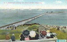 San Pedro, CA - U.S. Battleships entering San Pedro Harbor.