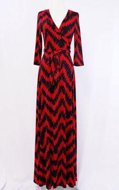 Red & black chevron maxi dress Shannasthreads.com