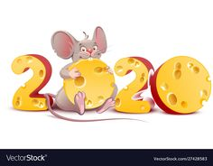 2020 Year Of Mouse. Cute Cartoon Rat Holds Cheese Stock Vector - Illustration of mouse, 158634544 New Year Illustration, Mouse Illustration, Cartoon Rat, Cute Cartoon, Happy New Year Images, Happy New Year 2020, Christmas Drawing, Christmas Art, Year Of The Rat