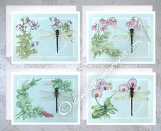 Dragonfly Botanical note cards - Set of 4