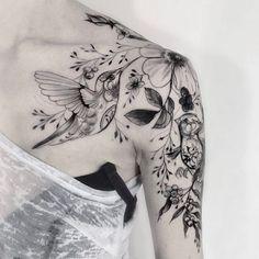 Liking the flowers, Hummingbird tattoo thought. Liking the flowers Hummingbird tattoo thought. Liking the flowers Hummingbird tattoo thought. Liking the flowers. Model Tattoos, Body Art Tattoos, Girl Tattoos, Star Tattoos, Maori Tattoos, Wolf Tattoos, Skull Tattoos, Tattos, Polynesian Tattoos