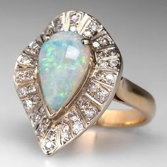 Vintage Opal Cocktail Ring Diamond Halo Two-Tone 14K Gold