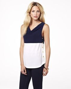 Summer 2013 Collection Colour block top with golden buttons