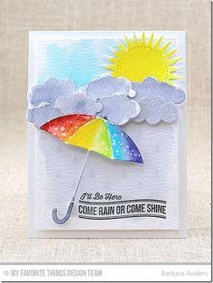 Blue Skies Ahead Stamp Set, Radiant Sun Die-namics, Puffy Clouds Die-namics, Umbrella Die-namics, Raindrops Stencil - Barbara Anders  #mftstamps