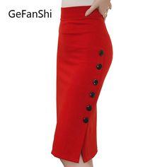da638c6f74c2 Plus Size New Fashion 2017 Women Skirt Midi Skirt Slim OL Sexy Open Slit  Button Slim Pencil Skirt Elegant Ladies Skirts 2 Colors-in Skirts from  Women's ...