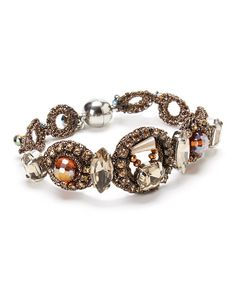 Take a look at the RUSH by Denis & Charles Brown Crystal Crocheted Bracelet on #zulily today!