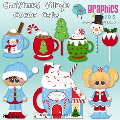 Christmas Village Cocoa Cafe Digital Clipart - Clip art for scrapbooking, party invitations - Instant Download Clipart Commercial Use