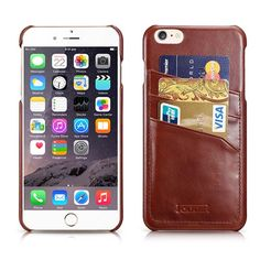 iCarer iPhone 6 Plus Case Vintage Card slot Back Cover Series Side open Genuine Leather Case Cover