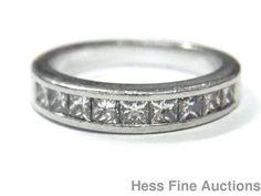 Platinum Fine Princess Diamond Channel Set Wedding Band or Stack Ring Size 5 #WithDiamonds