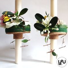 lumanari de cununie cu orhidee si oasomie _ yau concept _ elena toader (4) Church Flowers, Palm Sunday, Wedding Flowers, Planter Pots, Easter, Candles, Modern, Plants, Blog