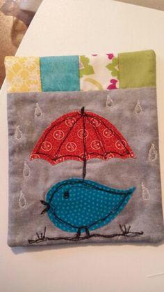 Rainy day bird coaster from Sweet Tweets book.