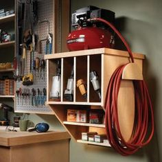 Save floor space and get organized with this sturdy compressor stand