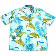 Always made in Hawaii at Lavahut! Ginger Breeze Aqua Hawaiian Rayon Shirt  #madeinhawaii #hawaiianclothing #islandstyle #alohashirt #hawaiianshirts #lavahut #hawaiian #hawaiianvibes #modernhawaiianshirts