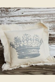vintage crown canvas pillow. . handmade in ROUND TOP, TExas. . . {junk gypsy co -  http://gypsyville.com/ }