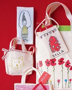 Iron-On Bags with Kids' Drawings for Mother's Day - Super Quick and Easy
