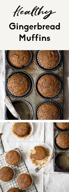 Incredibly fluffy, healthy gingerbread muffins made with whole wheat flour, cozy spices and delicious molasses flavor. These easy, healthy gingerbread muffins come together in just 30 minutes and are the perfect breakfast or snack with a cup of coffee! One of my favorite muffins to enjoy during the winter. #muffins #gingerbread #christmas #baking #breakfast #snack