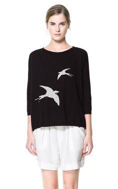 Oversized sweater with birds | Zara