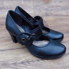 SIZE UK 6 CLARKS CUBIN HEEL3 BLACK LEATHER MARY JANES COURT SHOES BIG BUCKLE