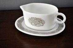 Vintage Corelle PYREX Milk Glass Woodland Gravy Boat & Drip Plate White & Brown #CorellePyrex