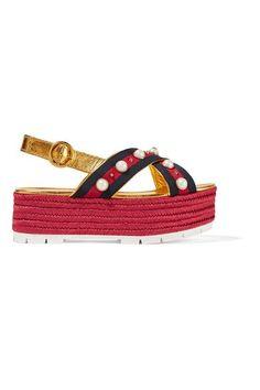 Gucci - Embellished Metallic Leather Espadrille Platform Sandals - Gold - IT41.5