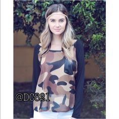 Camo Blouse Camouflage blouse with faux leather button detail on back. Made of chiffon. Size S, M, L Tops