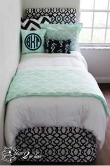 Mint & Navy Nautical Designer Bed In A Bag Set. Monogrammed nautical custom bedding for dorm, apartment, teen, sorority, home bedding. Designer headboard, custom pillows, exclusive bed scarf, window panels, wall art, bed skirts, duvet (twin, queen, king) and custom monogramming!! Turn your room from drab to fab!!