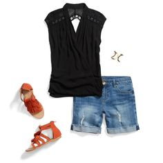 Love love love I need a cute pair of sandals like these. And love the top and shorts!Cutoffs & cut out black sleeveless top. SUMMER 2016 - Stitch Fix! Stitch Fix Outfits, Casual Summer Outfits, Cute Outfits, Summer Clothes, Mode Style, Style Me, Fix Clothing, Female Clothing, Clothing Ideas