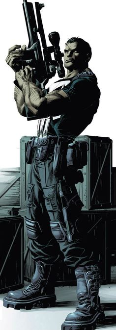 The Punisher preparing to lay the hurt with a very big gun.