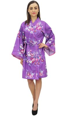 Bimba Women Bridesmaid Floral Printed Kimono Robe With Belt Cover Up  Wrap Floral Printed 99d409ec4