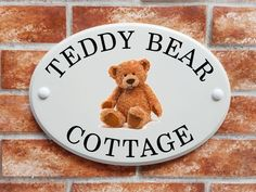 Teddy bear (code 059) Cottage Names, House Names, House Signs, Sign Printing, Print Pictures, Fashion Pictures, Teddy Bear, Ceramics, Printed