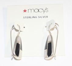 Macy's Earrings Drop Dangle Sterling Silver Black & Mother of Pearl