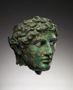Male head, Rome. Roman civilization, 1st century B.C. - 1st century A.D., Bronze Height: 30.5 cm