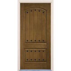 Builder's Choice 36 in. x 80 in. 2-Panel Arch Top V-Groove English Walnut Stained Prefinished Fiberglass Prehung Front Door-HDXD167939 - The Home Depot