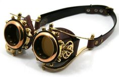 Wish | STEAMPUNK GOGGLES made of solid brass brown leather by MannAndCo