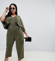 8631a0d33d ASOS Curve ASOS DESIGN Curve Jumpsuit with Kimono Sleeve and Peg Leg (Plus  Size)