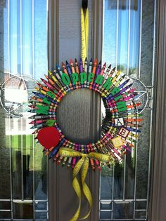 Hey, I found this really awesome Etsy listing at http://www.etsy.com/listing/101100620/crayola-crayon-wreath