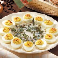 Deviled Eggs  -  this recipe adds french onion dip.