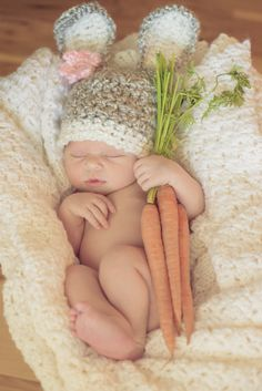 READY TO SHIP Baby Bunny Hat with removeable flower clip - Crochet Light…