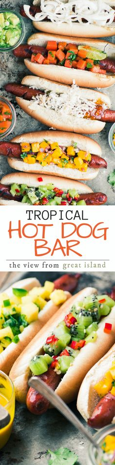 Tropical Hot Dog Bar ~ I admit it, I'm a closet hot dog lover, maybe you are too? Today I'm a slew of exotic toppings, including spicy kiwi relish and Maui onion slaw, that will turn your next barbecue into an island paradise! | grilling | main course | Hawaiian | Memorial Day | 4th of July |