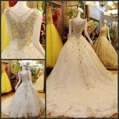 1,778.00$  Buy here - http://viedz.justgood.pw/vig/item.php?t=6dbnz84877 - White/Ivory Sparkling Crystal Beading Organza Long Train Wedding Dress 1,778.00$