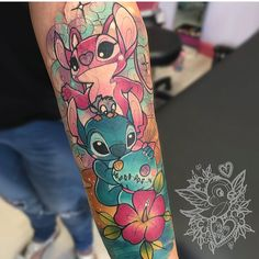 Artist Creates Beautiful Tattoos That'll Make You Want To Get Inked Disney Tattoos, Lilo And Stitch Tattoo, Disney Sleeve Tattoos, Wolf Tattoos, Finger Tattoos, Body Art Tattoos, Tatoos, Skull Tatto, Neck Tatto